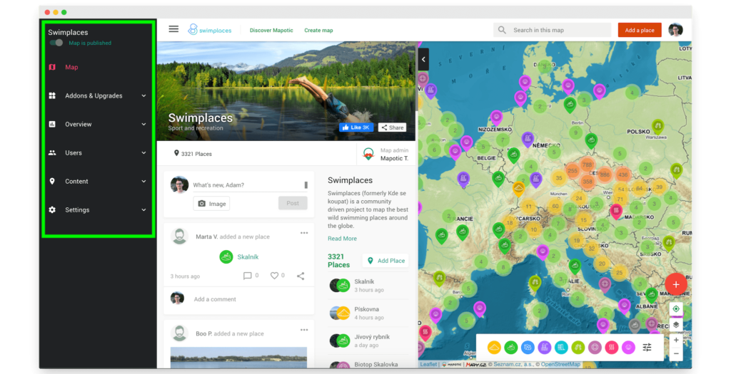 Mapotic simple map cloud administration