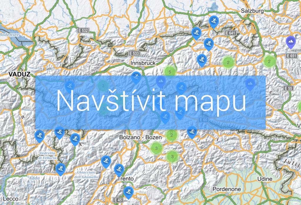 Mapa nejlepších míst na lyžování v Alpách