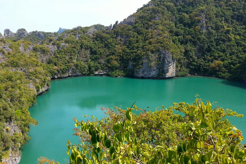 Blue lagoon, lake, view, National Park, vivid green color, limestones, saltwater
