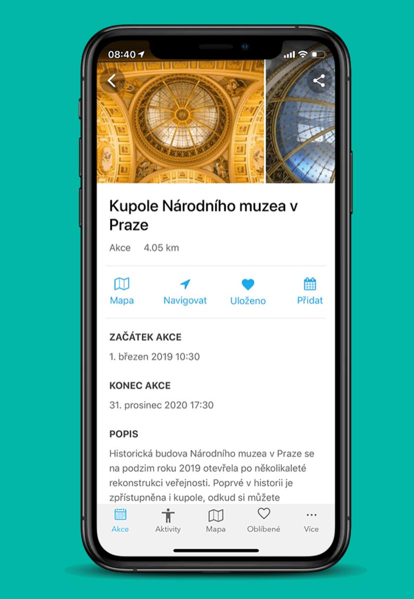 Czech Tourism mobile app Kudy z Nudy. Travel destination place detail.