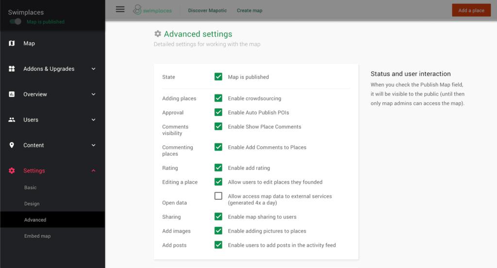 Mapotic advanced settings