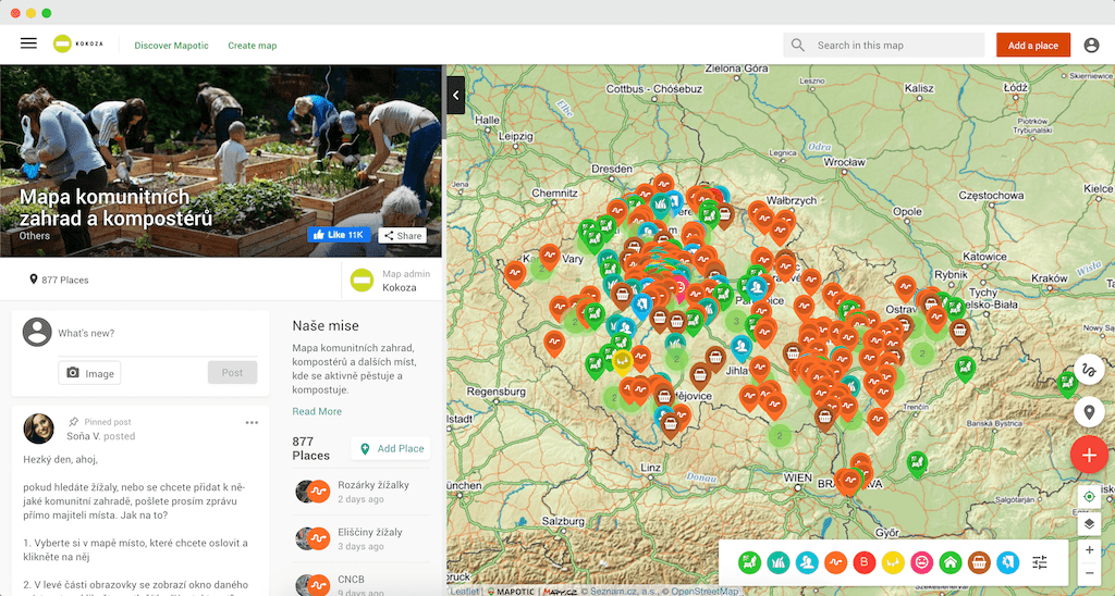 Mapko: map of community gardens and composters