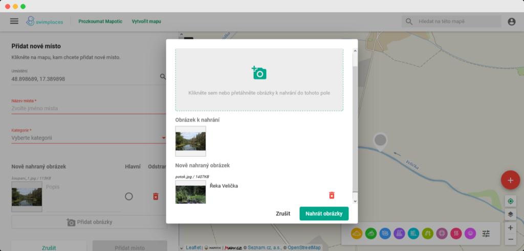 Dialog pro nahrání obrázků v mapové platformě Mapotic