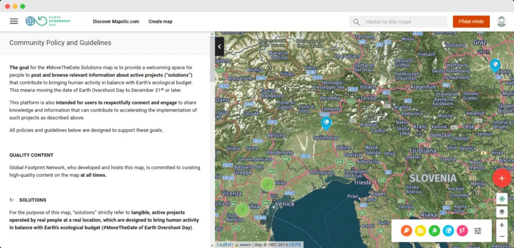 Statická stránka s vlastními podmínkami na mapové platformě Mapotic.com