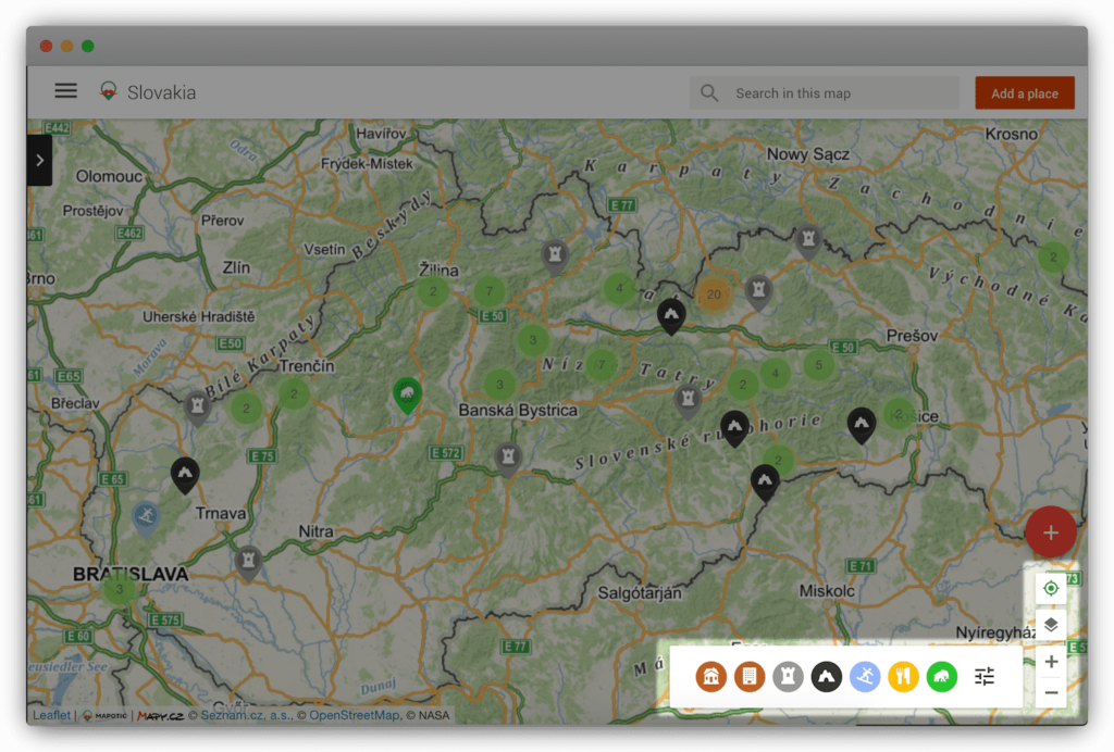 Advanced filters and categories in a map