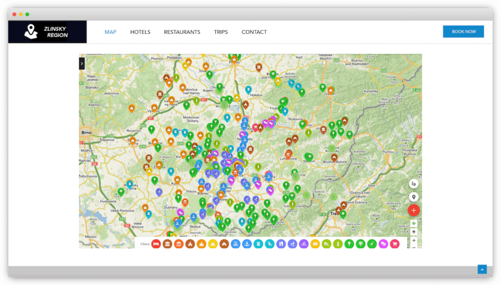 Interactive embedded map of travel destinations on a website