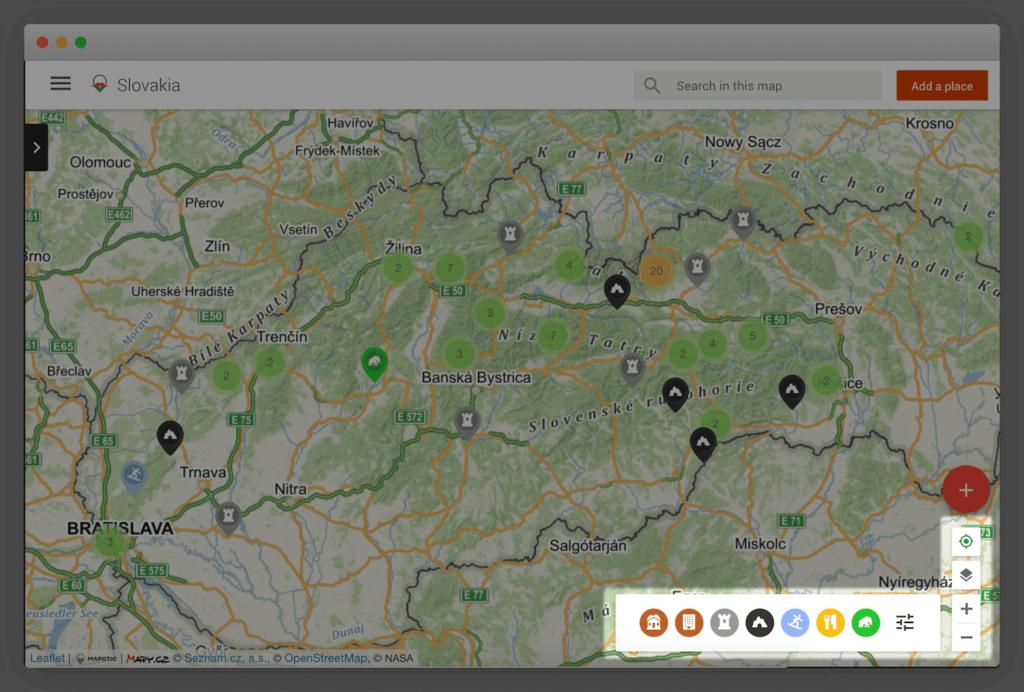 Pokročilé kategorie a filtry v mapě