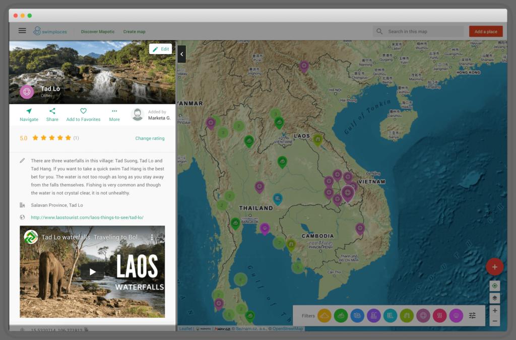 Mapotic umožňuje vložit k místu v mapě vyčerpávající informace, obrázky nebo videa