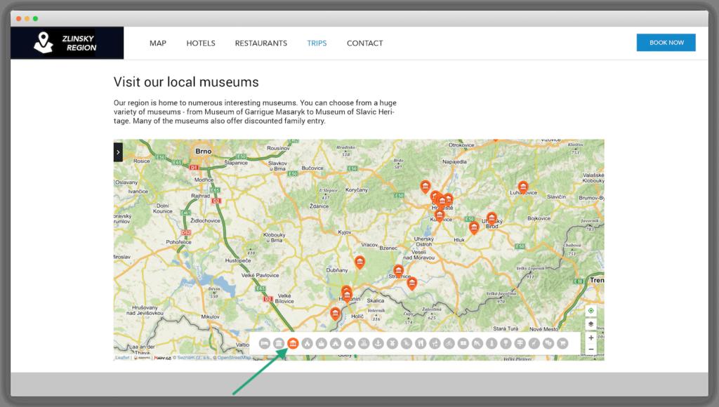Zobrazení míst z určité kategorie na mapě