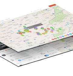 Chytrá mapa turistických destinací vložená na webu nebo v mobilní aplikaci