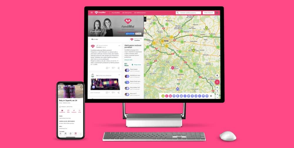 Fandimat mapová aplikace na obrazovce počítače a mobilním telefonu