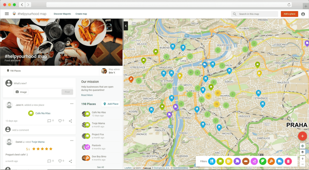 Covid Food Map Example